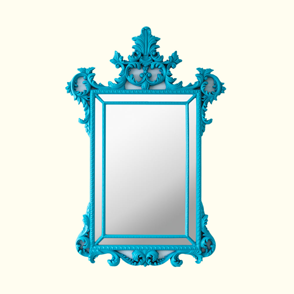 HALF ANTIQUE MIRROR - LIGHT BLUE