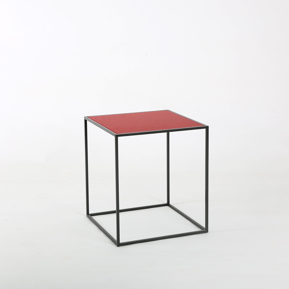 SQUARE BEDSIDE TABLE - RED 침실협탁 유리테이블